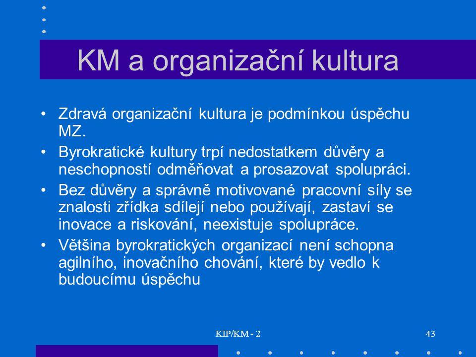 KIP/KM - 243 KM a organizační kultura Zdravá organizační kultura je podmínkou úspěchu MZ. Byrokratické kultury trpí nedostatkem důvěry a neschopností