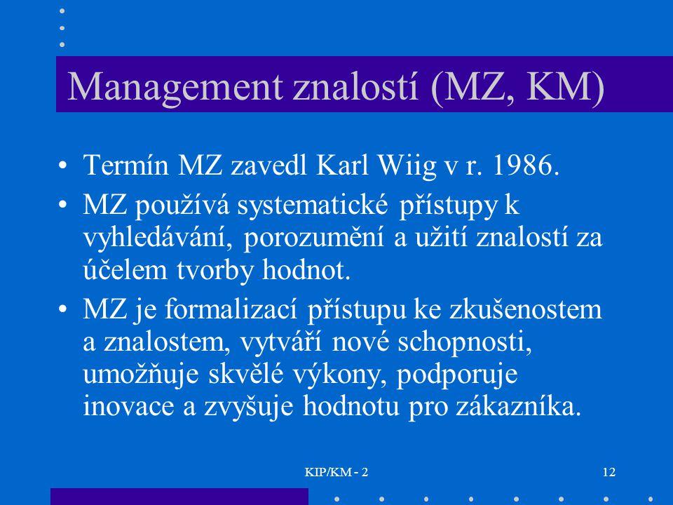 KIP/KM - 212 Management znalostí (MZ, KM) Termín MZ zavedl Karl Wiig v r.
