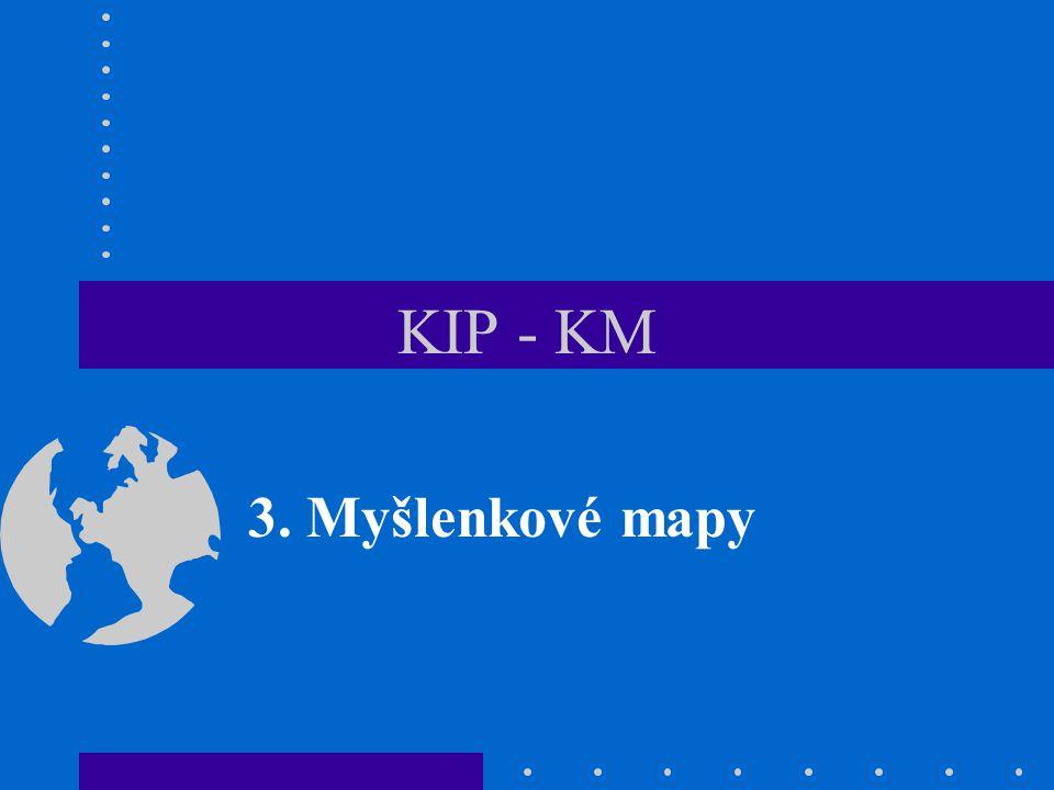 KIP/KM - 312 Použití MM při studiu 1.Eliminace ztrát času vznikajících při lineárním zápisu 2.Zvýšení efektivity studia, organizace studijních materiálů pomocí map 3.Výcvik schopnosti porozumění (čtení textů, vytváření map) 4.Tvorba mapy může podpořit brainstorming při hledání nápadů 5.Zapamatování lze podpořit organizací velkých množství informací s pomocí map 6.Komplexní informace jsou přehlednější, jsou-li uspořádány do mapy 7.Lepší pochopení posiluje rozvoj kreativní a systematické dedukce 8.Mapa usnadňuje strukturování obsahu práce (diplomové, referátu, článku, zprávy, …)