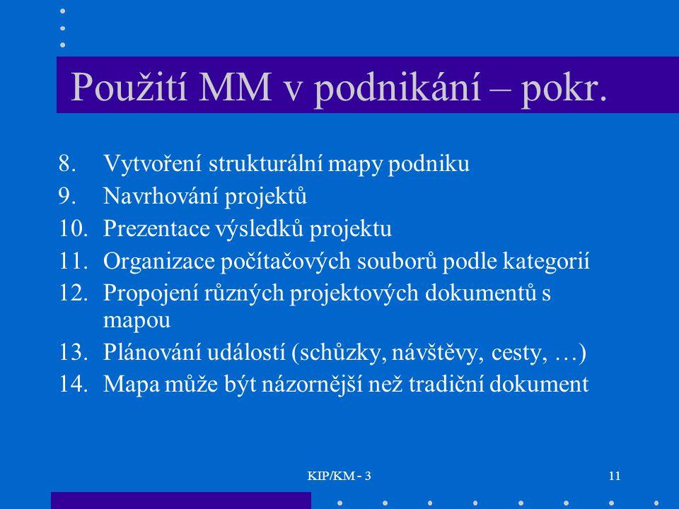 KIP/KM - 311 Použití MM v podnikání – pokr. 8.Vytvoření strukturální mapy podniku 9.Navrhování projektů 10.Prezentace výsledků projektu 11.Organizace