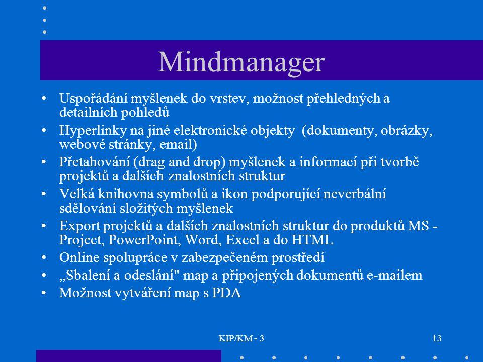 KIP/KM - 313 Mindmanager Uspořádání myšlenek do vrstev, možnost přehledných a detailních pohledů Hyperlinky na jiné elektronické objekty (dokumenty, o