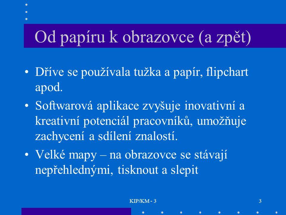 KIP/KM - 33 Od papíru k obrazovce (a zpět) Dříve se používala tužka a papír, flipchart apod. Softwarová aplikace zvyšuje inovativní a kreativní potenc