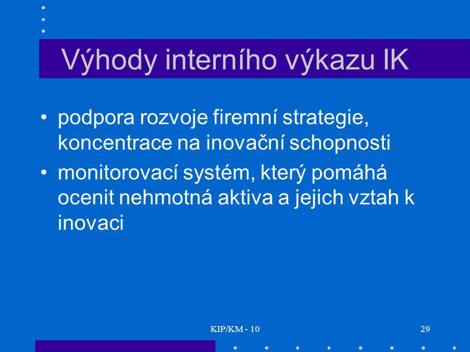 KIP/KM - 1029 Výhody interního výkazu IK podpora rozvoje firemní strategie, koncentrace na inovační schopnosti monitorovací systém, který pomáhá ocenit nehmotná aktiva a jejich vztah k inovaci