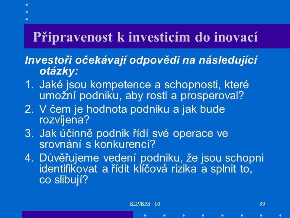 KIP/KM - 1039 Připravenost k investicím do inovací Investoři očekávají odpovědi na následující otázky: 1.Jaké jsou kompetence a schopnosti, které umožní podniku, aby rostl a prosperoval.