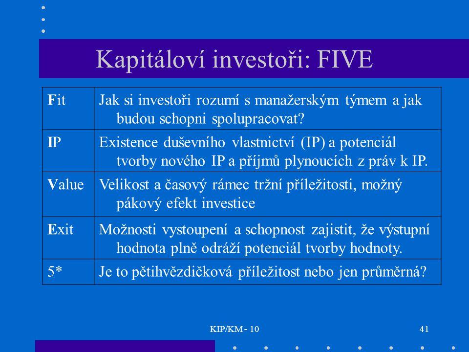 KIP/KM - 1041 Kapitáloví investoři: FIVE FitJak si investoři rozumí s manažerským týmem a jak budou schopni spolupracovat? IPIPExistence duševního vla