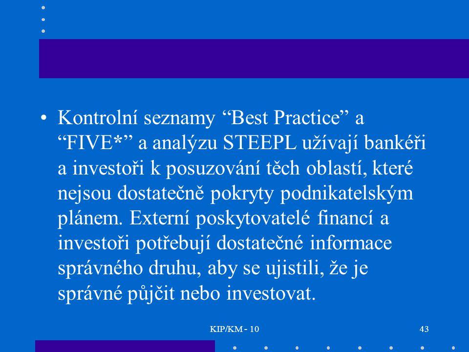 KIP/KM - 1043 Kontrolní seznamy Best Practice a FIVE* a analýzu STEEPL užívají bankéři a investoři k posuzování těch oblastí, které nejsou dostatečně pokryty podnikatelským plánem.