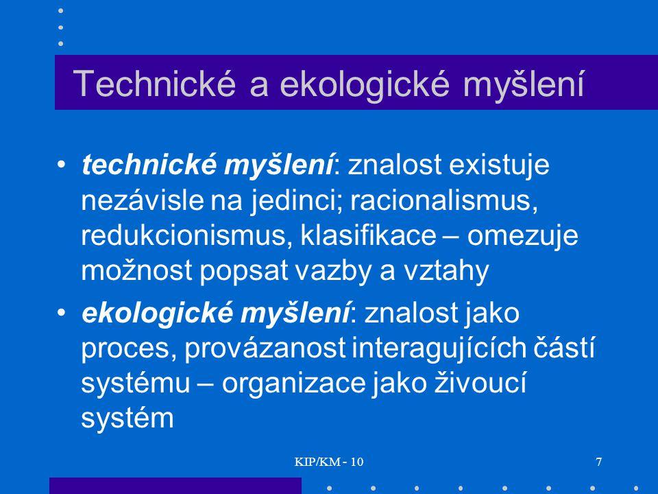 KIP/KM - 107 Technické a ekologické myšlení technické myšlení: znalost existuje nezávisle na jedinci; racionalismus, redukcionismus, klasifikace – ome