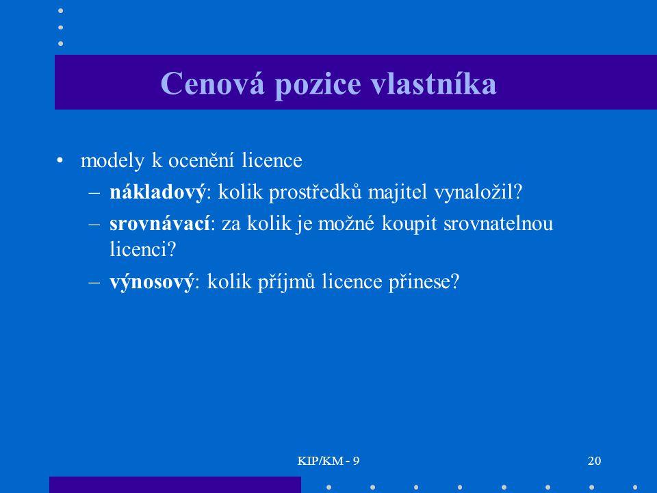 KIP/KM - 920 Cenová pozice vlastníka modely k ocenění licence –nákladový: kolik prostředků majitel vynaložil.