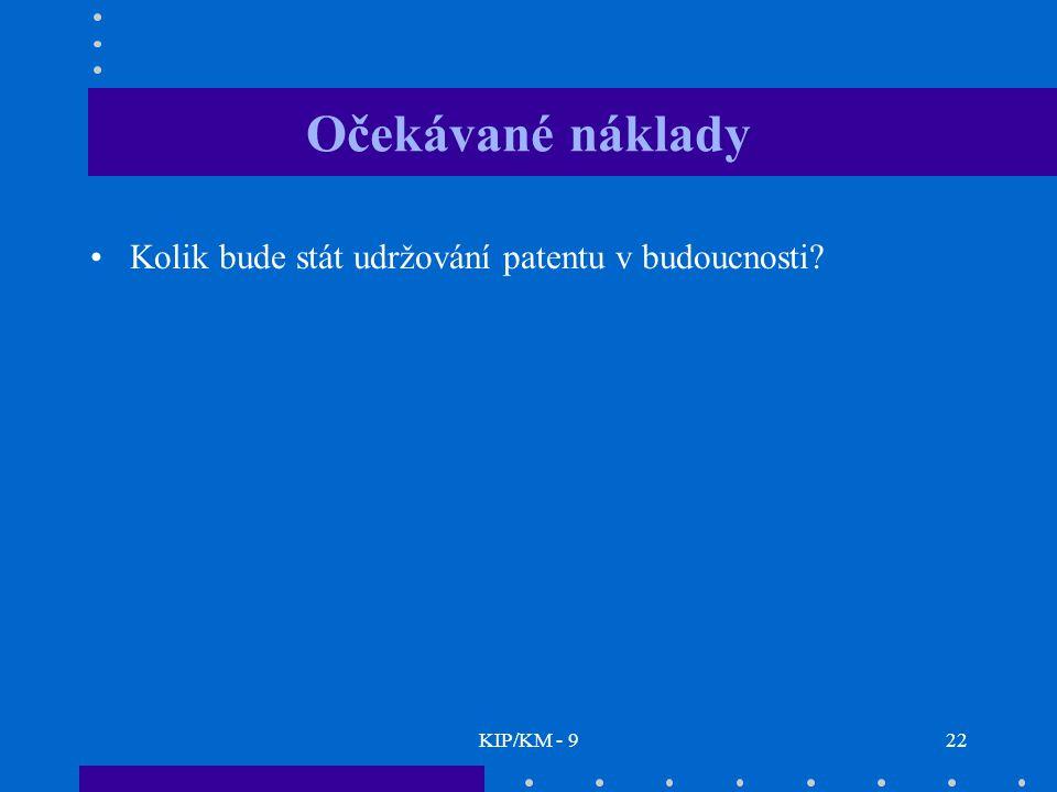 KIP/KM - 922 Očekávané náklady Kolik bude stát udržování patentu v budoucnosti?