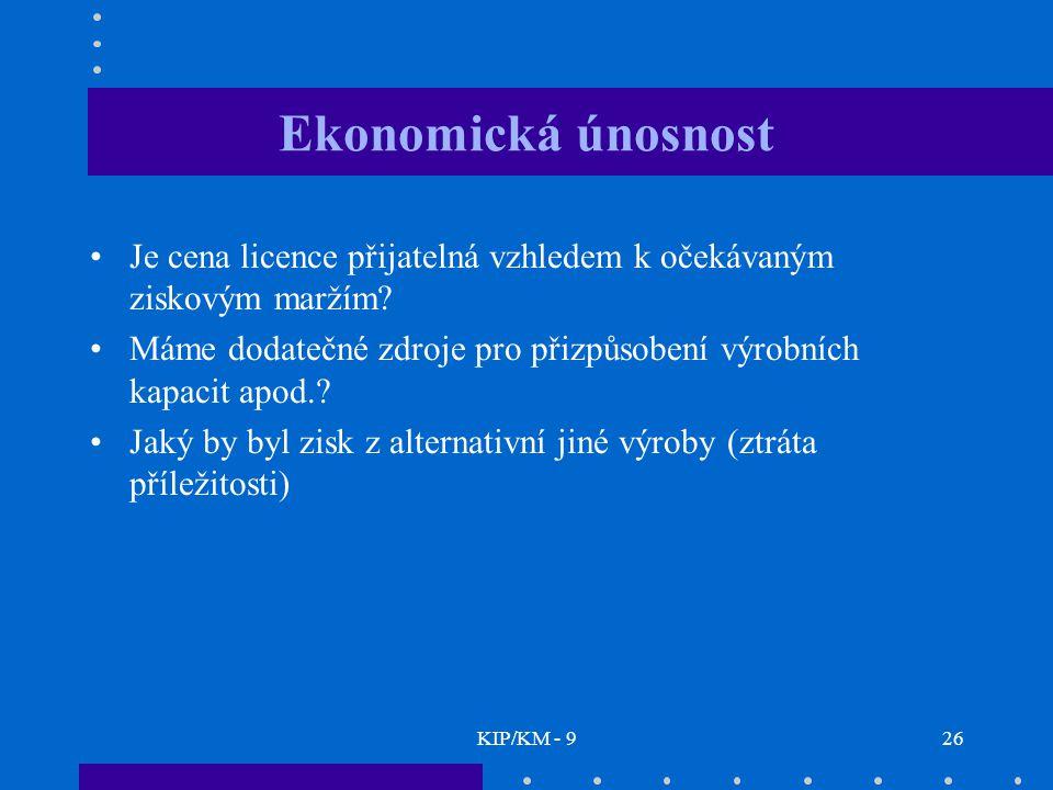 KIP/KM - 926 Ekonomická únosnost Je cena licence přijatelná vzhledem k očekávaným ziskovým maržím.