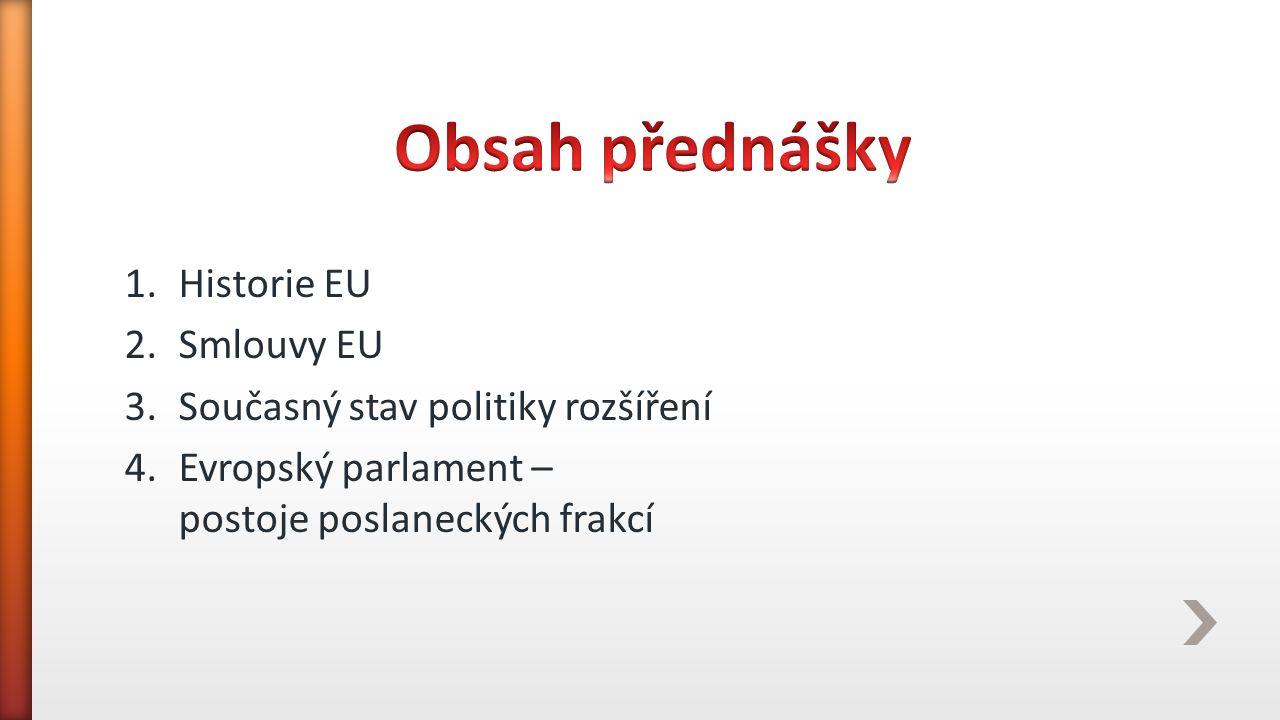 1.Historie EU 2.Smlouvy EU 3.Současný stav politiky rozšíření 4.Evropský parlament – postoje poslaneckých frakcí