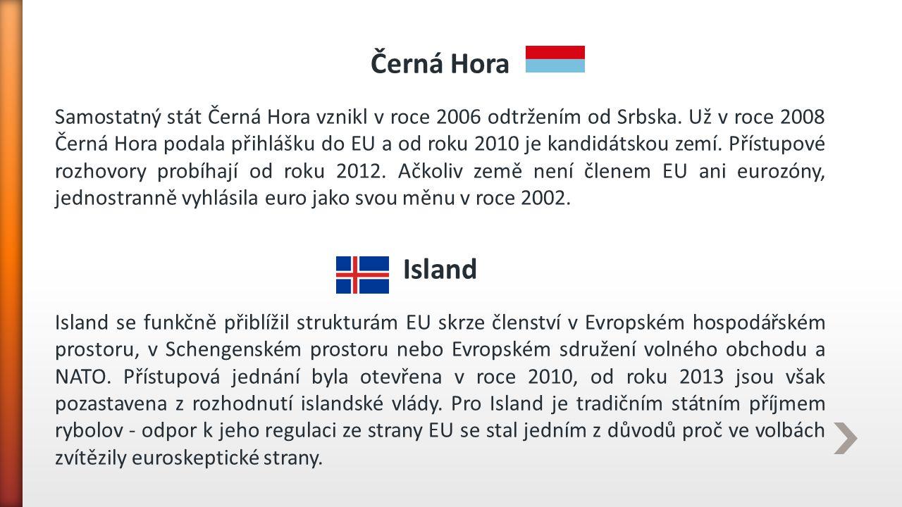 Černá Hora Samostatný stát Černá Hora vznikl v roce 2006 odtržením od Srbska. Už v roce 2008 Černá Hora podala přihlášku do EU a od roku 2010 je kandi