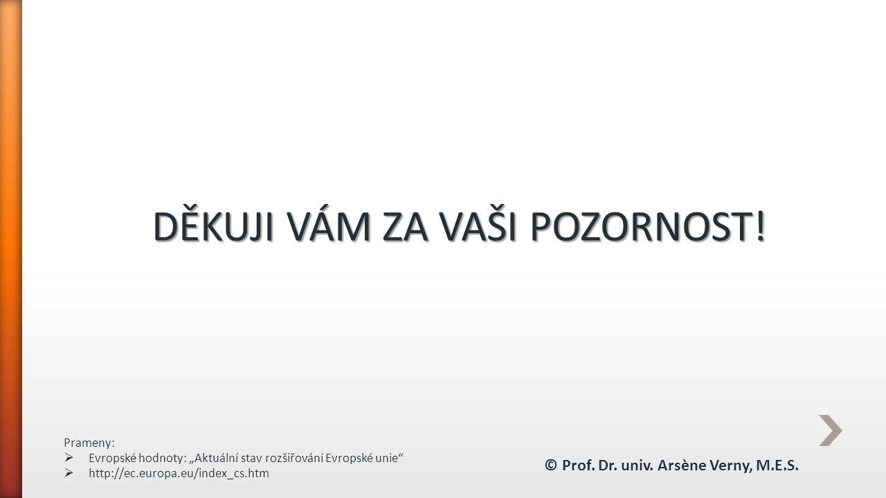 """DĚKUJI VÁM ZA VAŠI POZORNOST! Prameny:  Evropské hodnoty: """"Aktuální stav rozšiřování Evropské unie""""  http://ec.europa.eu/index_cs.htm © Prof. Dr. un"""