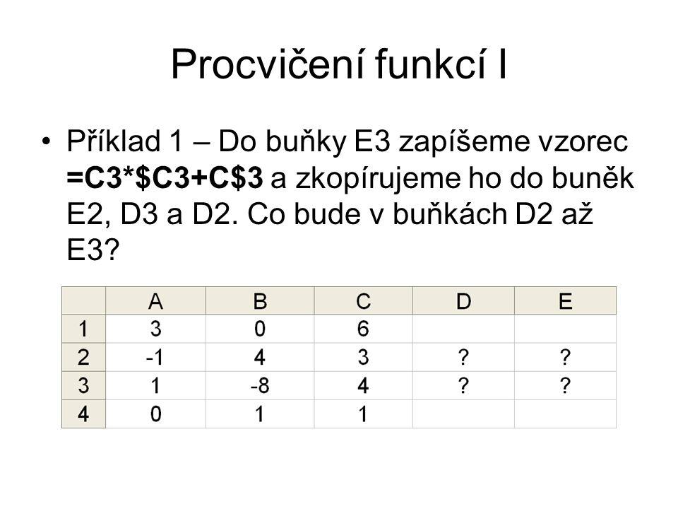 Procvičení funkcí I Příklad 1 – Do buňky E3 zapíšeme vzorec =C3*$C3+C$3 a zkopírujeme ho do buněk E2, D3 a D2. Co bude v buňkách D2 až E3?