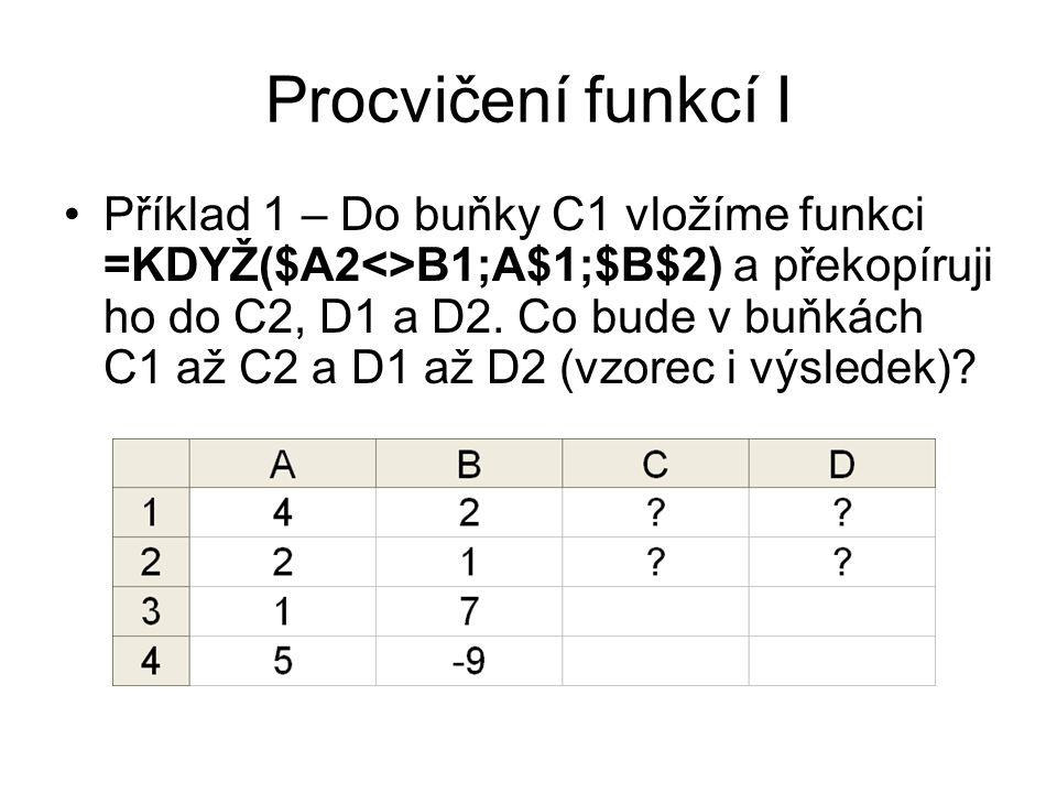 Procvičení funkcí I Příklad 1 – Do buňky C1 vložíme funkci =KDYŽ($A2<>B1;A$1;$B$2) a překopíruji ho do C2, D1 a D2. Co bude v buňkách C1 až C2 a D1 až