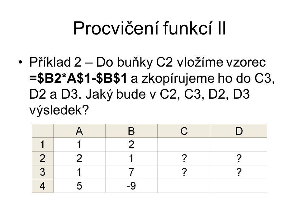 Procvičení funkcí II Příklad 2 – Do buňky C2 vložíme vzorec =$B2*A$1-$B$1 a zkopírujeme ho do C3, D2 a D3. Jaký bude v C2, C3, D2, D3 výsledek?