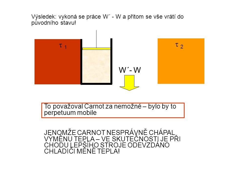  1 1  2 2 Výsledek: vykoná se práce W´ - W a přitom se vše vrátí do původního stavu.