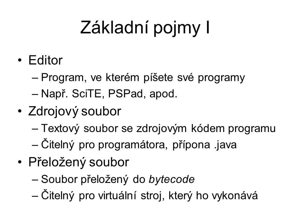 Základní pojmy I Editor –Program, ve kterém píšete své programy –Např. SciTE, PSPad, apod. Zdrojový soubor –Textový soubor se zdrojovým kódem programu