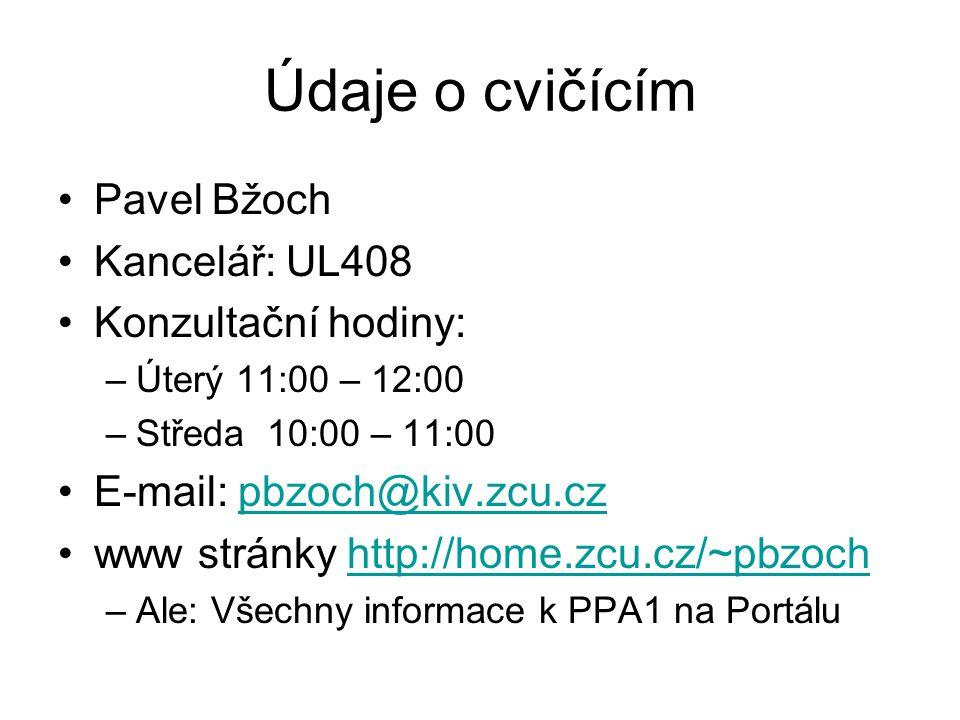 Údaje o cvičícím Pavel Bžoch Kancelář: UL408 Konzultační hodiny: –Úterý 11:00 – 12:00 –Středa 10:00 – 11:00 E-mail: pbzoch@kiv.zcu.czpbzoch@kiv.zcu.cz