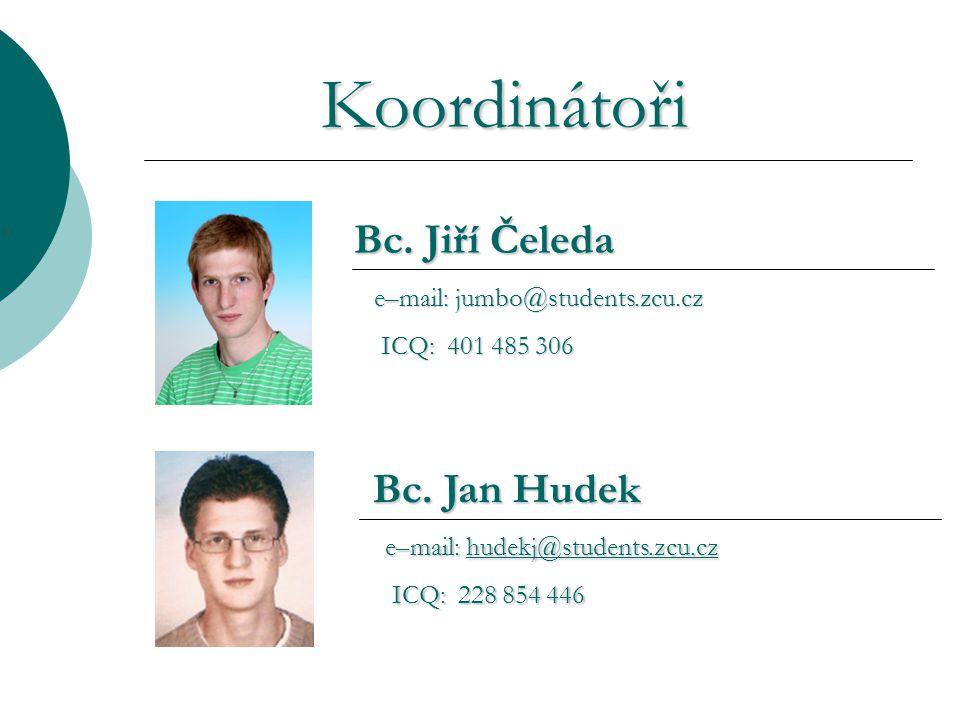 Koordinátoři Bc. Jiří Čeleda e–mail: jumbo@students.zcu.cz e–mail: jumbo@students.zcu.cz ICQ: 401 485 306 ICQ: 401 485 306 Bc. Jan Hudek e–mail: hudek