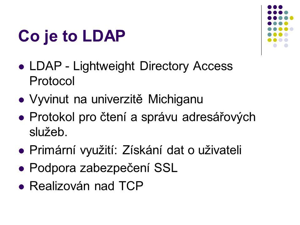 Co je to LDAP LDAP - Lightweight Directory Access Protocol Vyvinut na univerzitě Michiganu Protokol pro čtení a správu adresářových služeb.