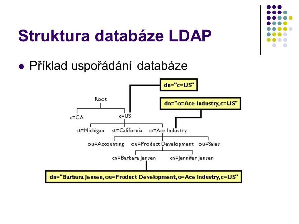 Struktura databáze LDAP Příklad uspořádání databáze