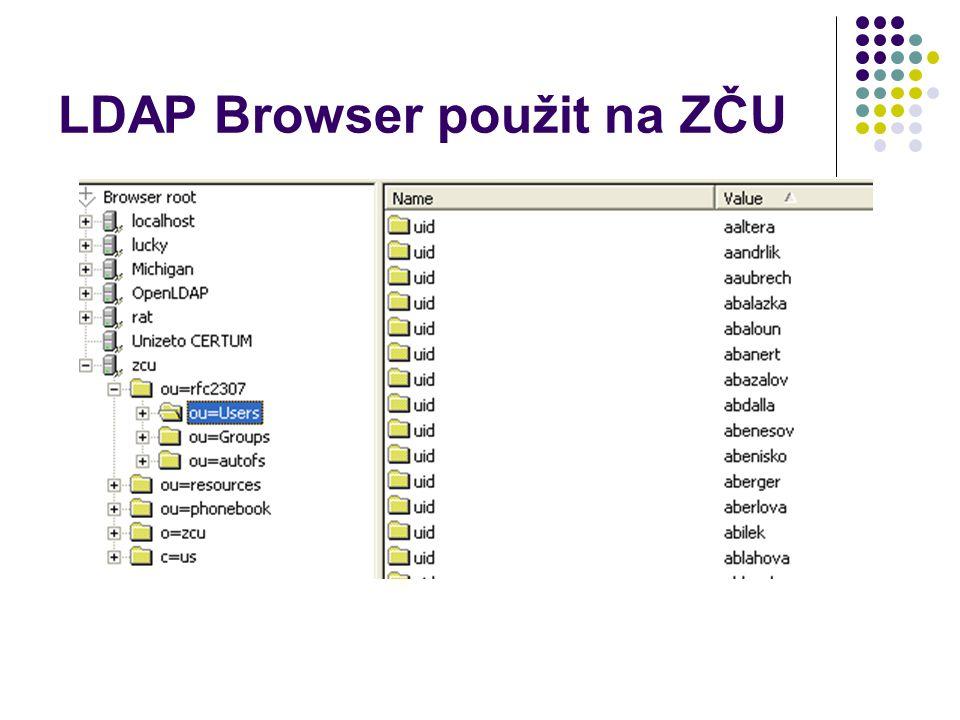 LDAP Browser použit na ZČU