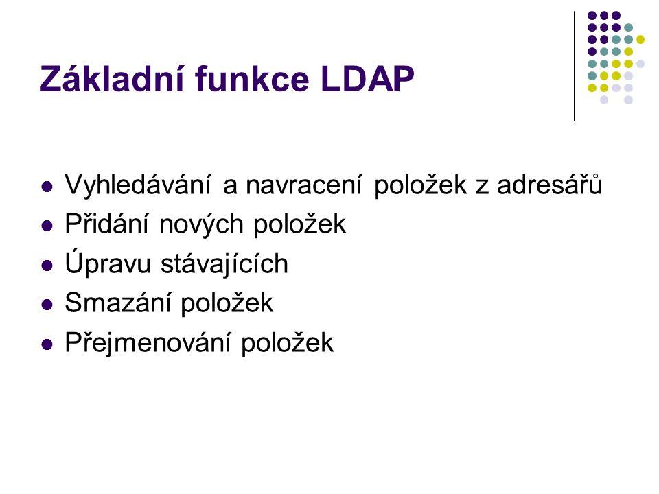 Základní funkce LDAP Vyhledávání a navracení položek z adresářů Přidání nových položek Úpravu stávajících Smazání položek Přejmenování položek
