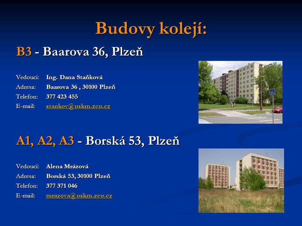 Budovy kolejí: B3 - Baarova 36, Plzeň Vedoucí:Ing.