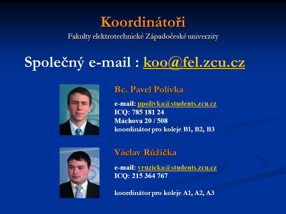 Koordinátoři Fakulty elektrotechnické Západočeské univerzity Bc.