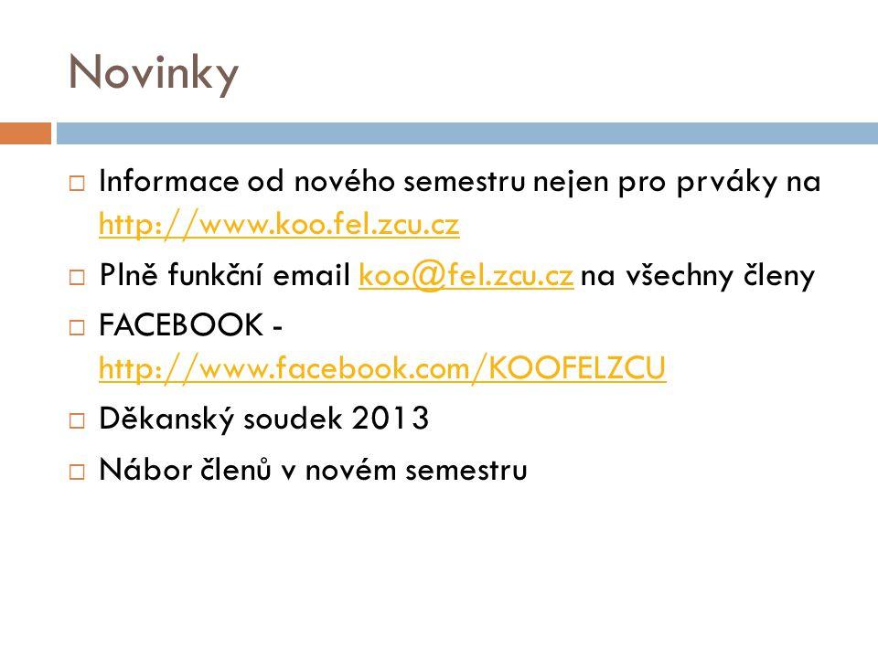 Novinky  Informace od nového semestru nejen pro prváky na http://www.koo.fel.zcu.cz http://www.koo.fel.zcu.cz  Plně funkční email koo@fel.zcu.cz na všechny členykoo@fel.zcu.cz  FACEBOOK - http://www.facebook.com/KOOFELZCU http://www.facebook.com/KOOFELZCU  Děkanský soudek 2013  Nábor členů v novém semestru