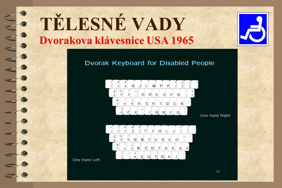 Dvorakova klávesnice USA 1965 TĚLESNÉ VADY