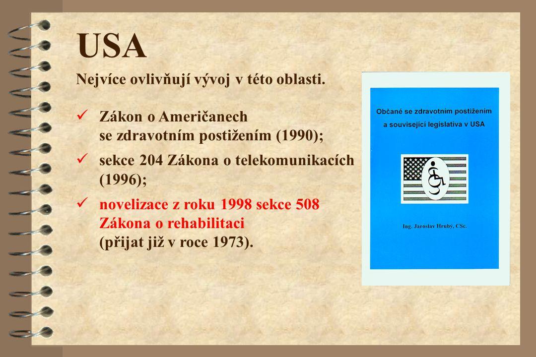 USA Nejvíce ovlivňují vývoj v této oblasti. Zákon o Američanech se zdravotním postižením (1990); sekce 204 Zákona o telekomunikacích (1996); novelizac