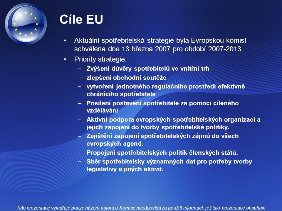 Cíle EU Aktuální spotřebitelská strategie byla Evropskou komisí schválena dne 13 března 2007 pro období 2007-2013.