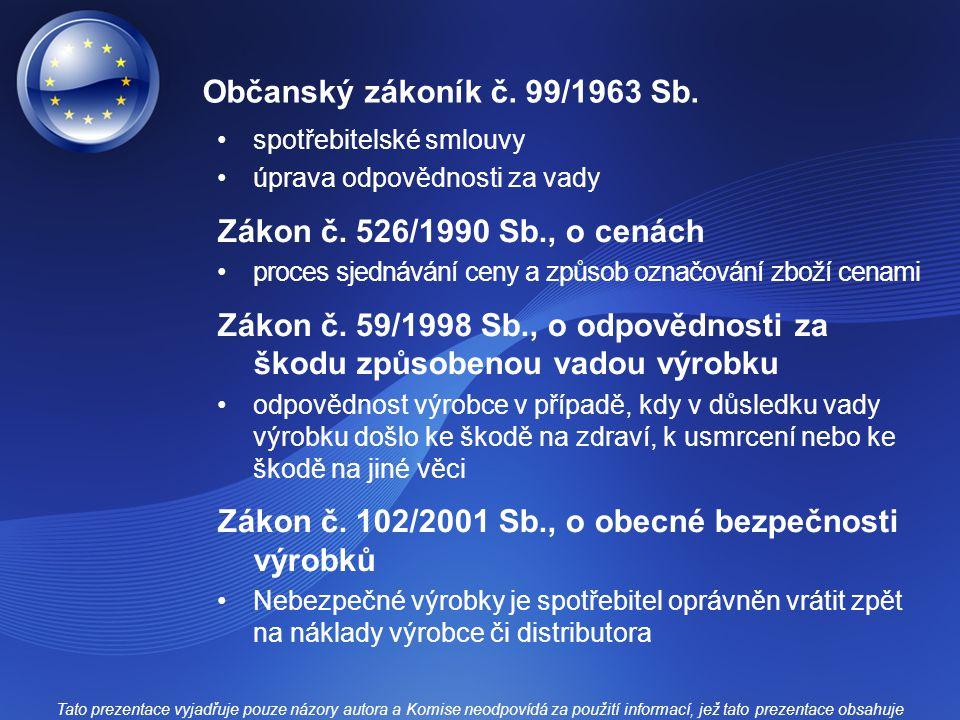 Občanský zákoník č. 99/1963 Sb. spotřebitelské smlouvy úprava odpovědnosti za vady Zákon č.