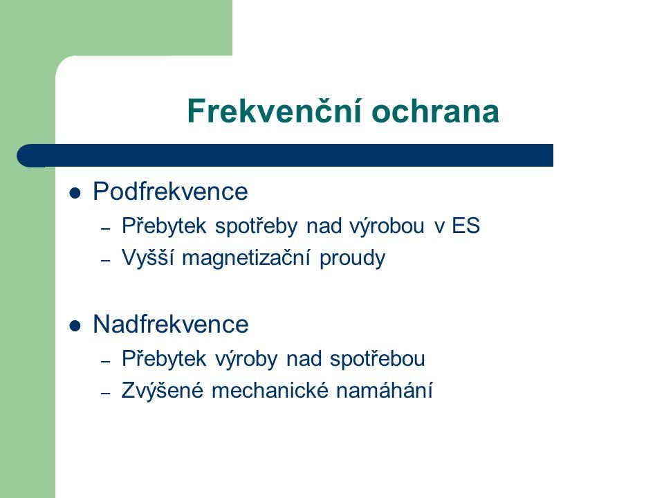 Frekvenční ochrana Podfrekvence – Přebytek spotřeby nad výrobou v ES – Vyšší magnetizační proudy Nadfrekvence – Přebytek výroby nad spotřebou – Zvýšen