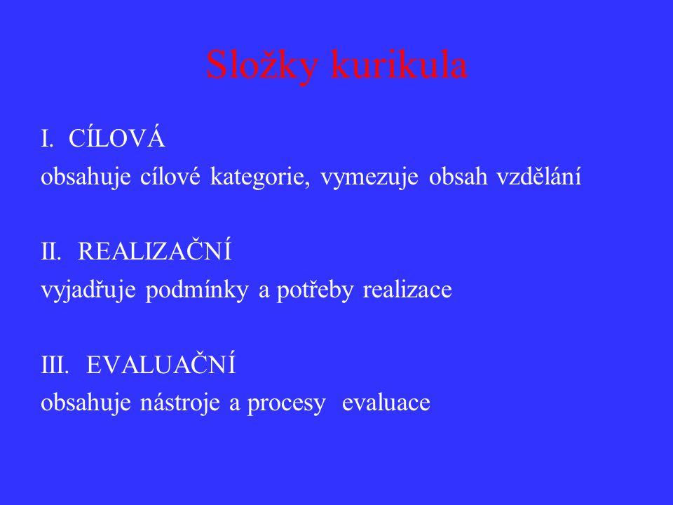 Složky kurikula I. CÍLOVÁ obsahuje cílové kategorie, vymezuje obsah vzdělání II.