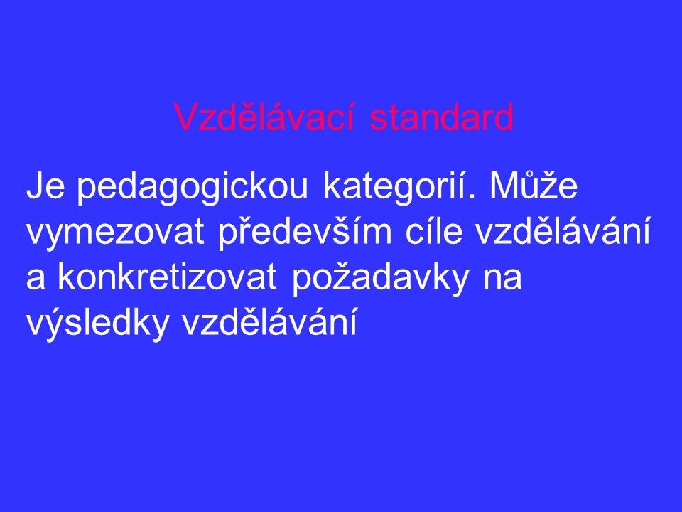 Standardy cílové Formulují obligatorní (závazné) požadavky na obsah vzdělání v souladu s požadavky na výkon určitého povolání.