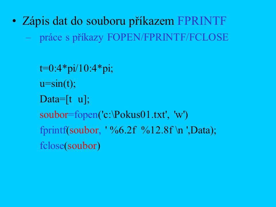 Zápis dat do souboru příkazem FPRINTF –práce s příkazy FOPEN/FPRINTF/FCLOSE t=0:4*pi/10:4*pi; u=sin(t); Data=[t u]; soubor=fopen('c:\Pokus01.txt', 'w'