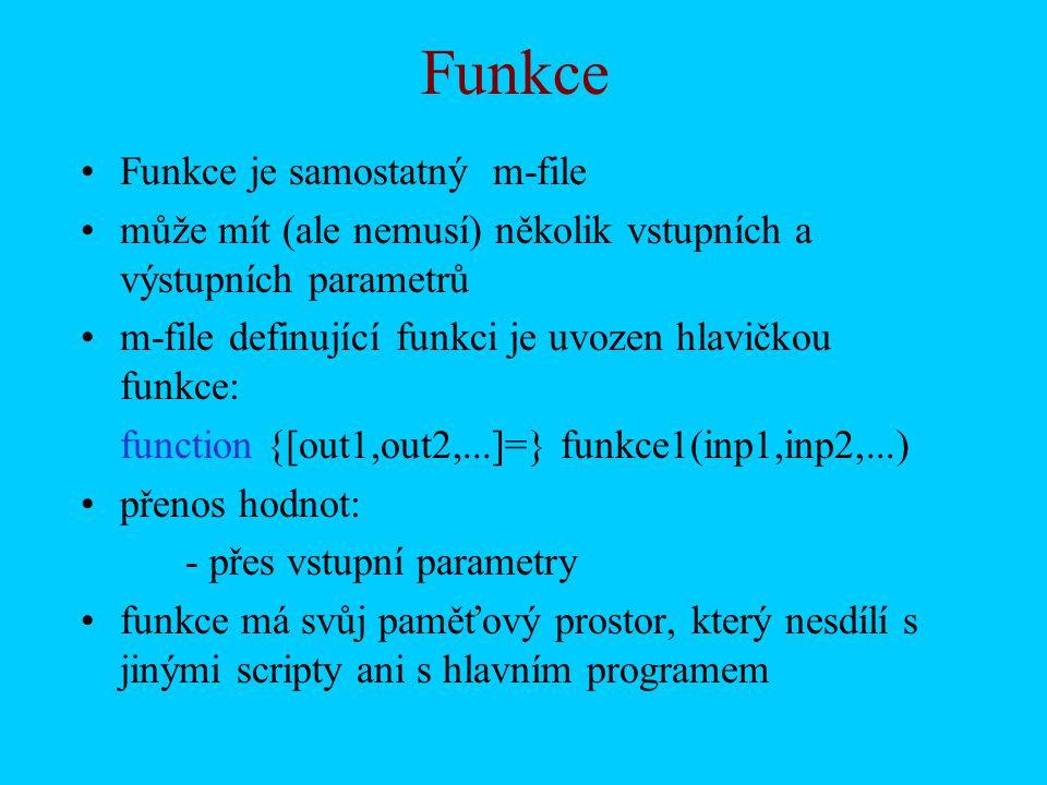 Zápis dat do souboru příkazem FPRINTF –práce s příkazy FOPEN/FPRINTF/FCLOSE t=0:4*pi/10:4*pi; u=sin(t); Data=[t u]; soubor=fopen( c:\Pokus01.txt , w ) fprintf(soubor, %6.2f %12.8f \n ,Data); fclose(soubor)