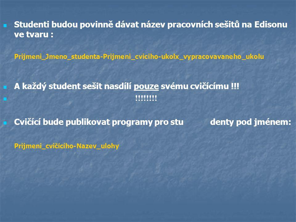 Studenti budou povinně dávat název pracovních sešitů na Edisonu ve tvaru : Prijmeni_Jmeno_studenta-Prijmeni_cviciho-ukolx_vypracovavaneho_ukolu A každ