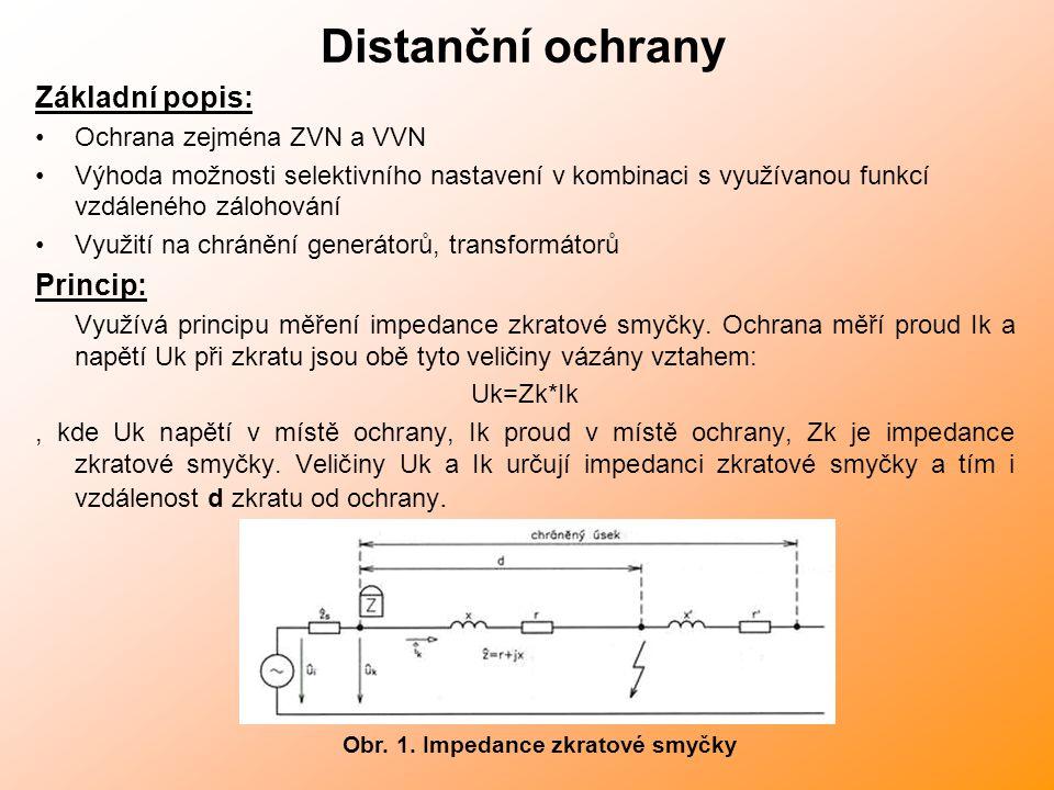 Distanční ochrany Základní popis: Ochrana zejména ZVN a VVN Výhoda možnosti selektivního nastavení v kombinaci s využívanou funkcí vzdáleného zálohování Využití na chránění generátorů, transformátorů Princip: Využívá principu měření impedance zkratové smyčky.