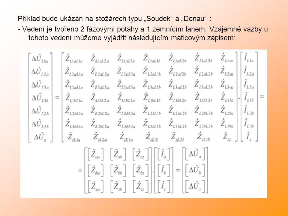 """Příklad bude ukázán na stožárech typu """"Soudek a """"Donau : - Vedení je tvořeno 2 fázovými potahy a 1 zemnícím lanem."""