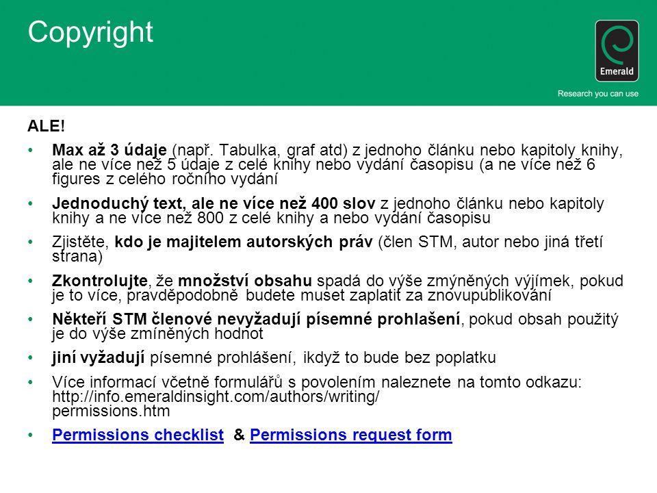 Copyright ALE. Max až 3 údaje (např.
