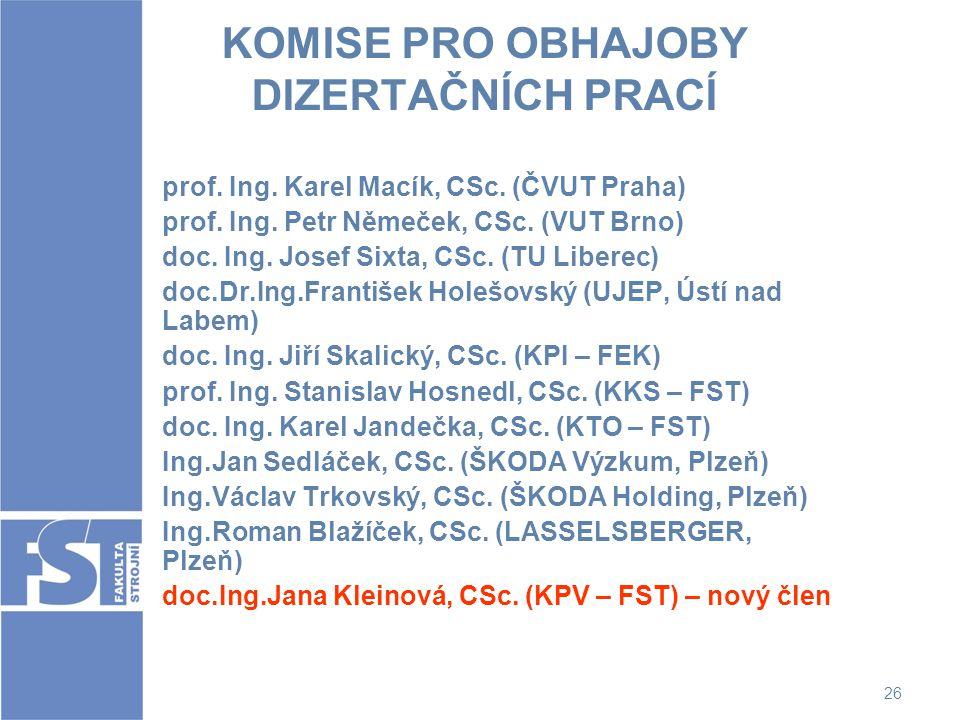 26 KOMISE PRO OBHAJOBY DIZERTAČNÍCH PRACÍ prof. Ing. Karel Macík, CSc. (ČVUT Praha) prof. Ing. Petr Němeček, CSc. (VUT Brno) doc. Ing. Josef Sixta, CS