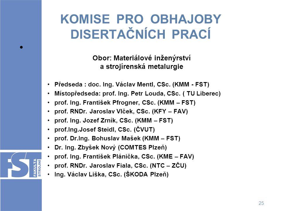 25 KOMISE PRO OBHAJOBY DISERTAČNÍCH PRACÍ Obor: Materiálové inženýrství a strojírenská metalurgie Předseda : doc. Ing. Václav Mentl, CSc. (KMM - FST)