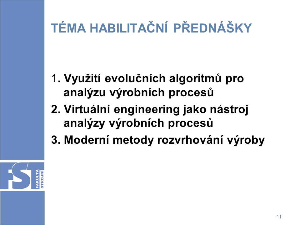 11 TÉMA HABILITAČNÍ PŘEDNÁŠKY 1. Využití evolučních algoritmů pro analýzu výrobních procesů 2. Virtuální engineering jako nástroj analýzy výrobních pr