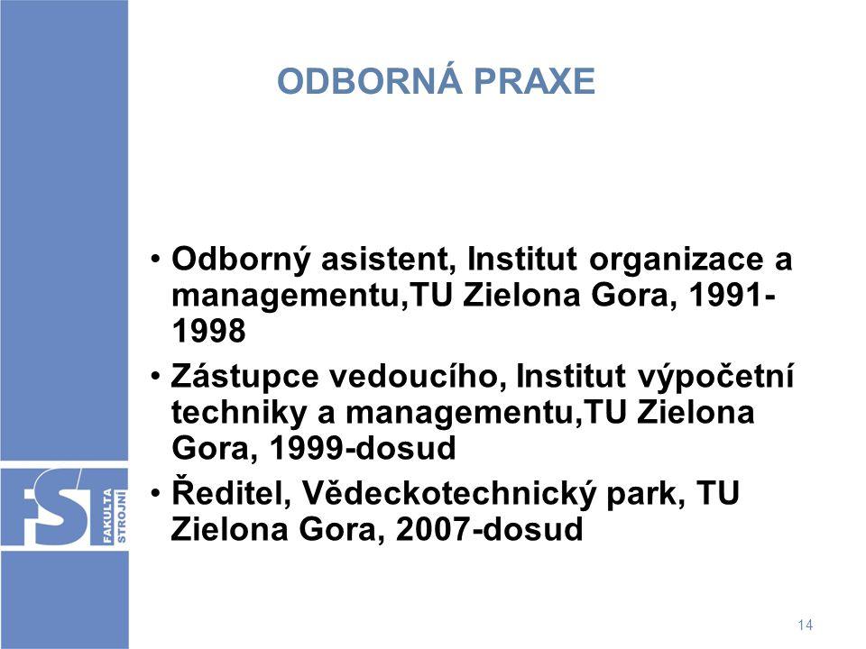 ODBORNÁ PRAXE Odborný asistent, Institut organizace a managementu,TU Zielona Gora, 1991- 1998 Zástupce vedoucího, Institut výpočetní techniky a manage