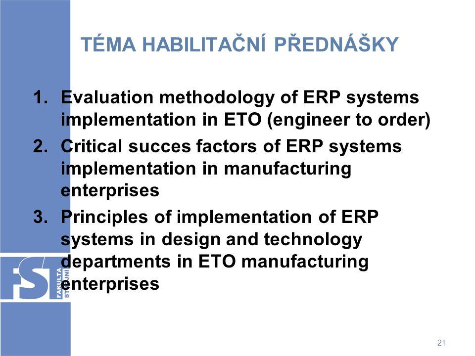 21 TÉMA HABILITAČNÍ PŘEDNÁŠKY 1.Evaluation methodology of ERP systems implementation in ETO (engineer to order) 2.Critical succes factors of ERP syste