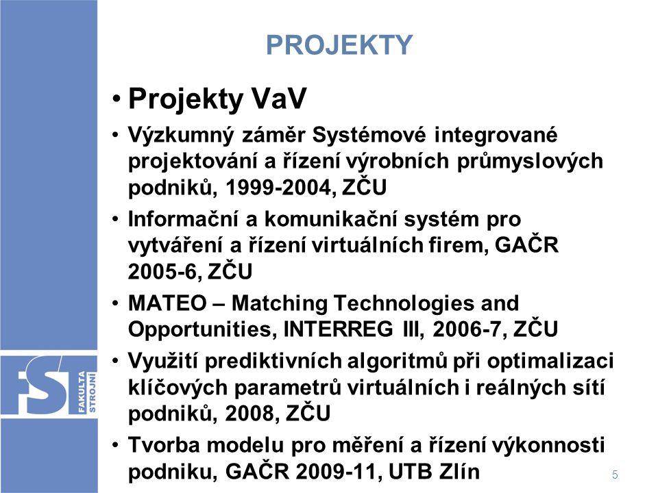 5 PROJEKTY Projekty VaV Výzkumný záměr Systémové integrované projektování a řízení výrobních průmyslových podniků, 1999-2004, ZČU Informační a komunik